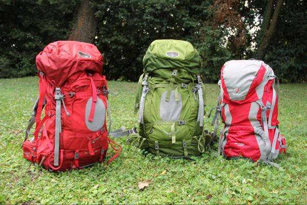 De gauche à droite : les sacs Ariel 65, Aether 70 et ACT Lite 50+10